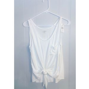 LOFT NWT white tank top with tie front